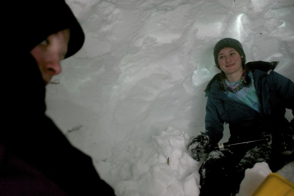 Sierra Marchacos (right) has built snow forts all her life growing up in Maine. Marchacos said she never thought she'd actually build one for college credit.