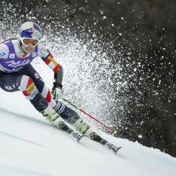 Lindsey Vonn of the U.S. skis during the second run of the women's giant slalom race Sunday at the Alpine Skiing World Cup Finals in Meribel, in the French Alps.