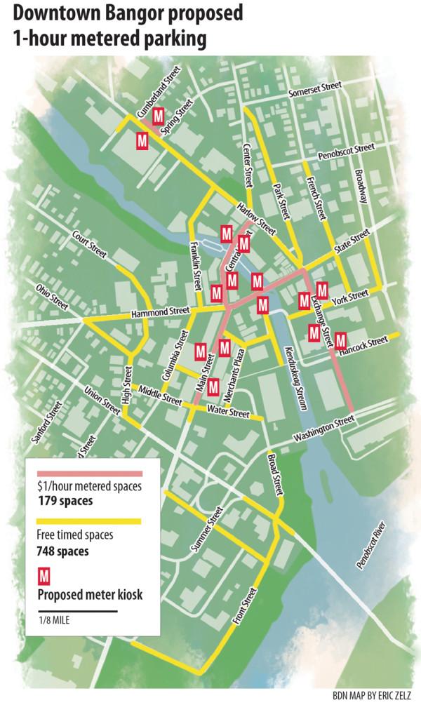 Downtown Bangor proposed 1-hour parking meter kiosk