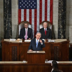 Israeli Prime Minister Benjamin Netanyahu addresses a joint meeting of Congress in the House Chamber on Capitol Hill in Washington on Tuesday.