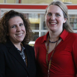 Thornton Academy's nominee for the 2016 Maine Teacher of the Year Amber Russo (left) stands with Marsha Snyder, who was nominated for the 2014 Maine Teacher of Year and now serves as TA's Director of Academics.