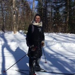Amber takes time off to ski at the Nordic heritage center in Presque Isle. Not only does she walk the talk, she skis it!