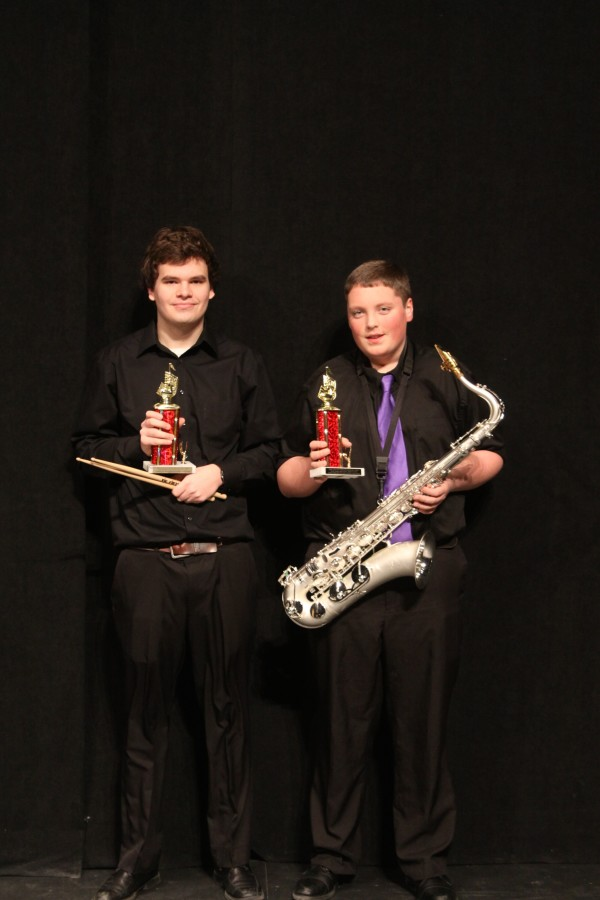 Outstanding Musicianship Award Winners, Jake Michaud, drums and Bailey Giles, tenor saxophone