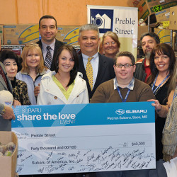 Patriot Subaru, Saco, ME raises $40,000 for Preble Street, through the Subaru Share The Love Event program.