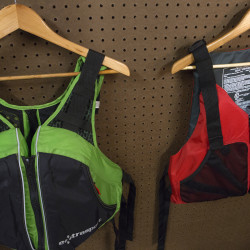 Personal flotation devices are seen at Old Town Canoe Company in Old Town.