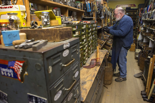 Skip Brack organizes a new shipment of tools at Liberty Tools in Liberty Saturday. Last year Brack created waves that reverberated beyond Maine's borders -- among people who love tools -- when he put Liberty Tool up for sale. No buyer has been found yet.