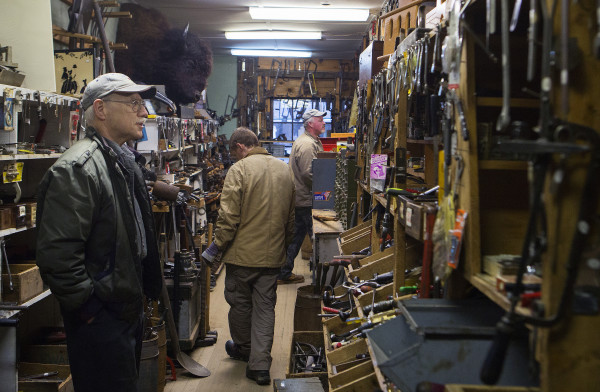 Robert Drew (left) searches for tools at Liberty Tools in Liberty Saturday. Last year Skip Brack created waves that reverberated beyond Maine's borders -- among people who love tools -- when he put Liberty Tool up for sale. No buyer has been found yet.