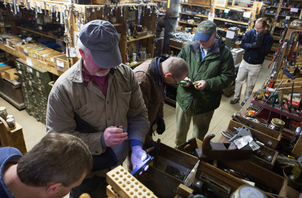 People search for hidden tool gems at Liberty Tools in Liberty Saturday. Last year Skip Brack created waves that reverberated beyond Maine's borders -- among people who love tools -- when he put Liberty Tool up for sale. No buyer has been found yet.