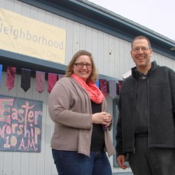 The Neighborhood United Church of Christ has a new home at 798 Washington St. in Bath, previously the Admiral Steakhouse. Pastor Bill Bliss, right, said the church has been welcomed to downtown Bath by many people, including Sarah Krajewski, left, residential services coordinator for the nearby Washington House.