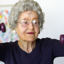 Ruth Clark, 95, goes through her daily aerobic exercise routine in Pompano Beach, Florida, on April 24, 2012.
