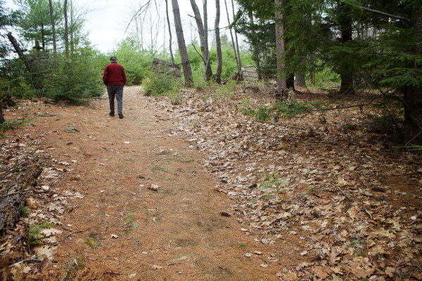 Cumberland Town Councilor Tom Gruber walks along a wooded path on Monday at Knight's Pond in Cumberland, where local land trusts hope to conserve a 215 acre parcel. Supporters held a press conference Monday urging Gov. Paul LePage to release approved bond funds to seal the deal.