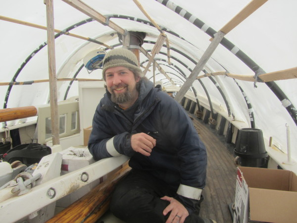 Capt. Lance Meadows is aboard the schooner Timberwind.