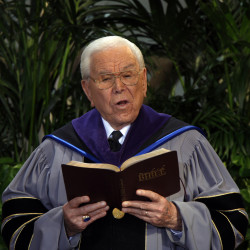 The Rev. Robert H. Schuller reads scripture in 2010 during Sunday services at the Crystal Cathedral in Garden Grove, California. Schuller died on April 2, 2015. He was 88.