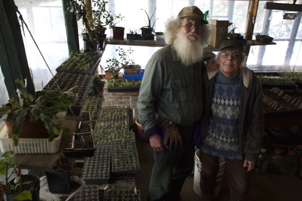 Tom Roberts and his partner of 20 years, Lois Labbe, share tips on starting and keeping a garden at Snakeroot Organic Farm in Pittsfield recently.