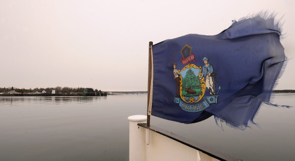 The ferry approaches Islesboro in Penobscot Bay. Many residents of the island are struggling with the lack of access to high-speed Internet.