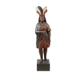 """Circa 1880 59"""" high carved wooden cigar store Indian, one of many fine folk art items to be sold at Thomaston Place Auction Galleries Spring 2015 Fine Art & Antiques Auction on May 30 & 31."""