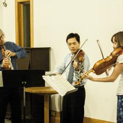 The Woo Downeast plays at Eagle Hill.  Gerard Reuter on oboe, Richard Hsu on violin, Heidi Powell on viola.