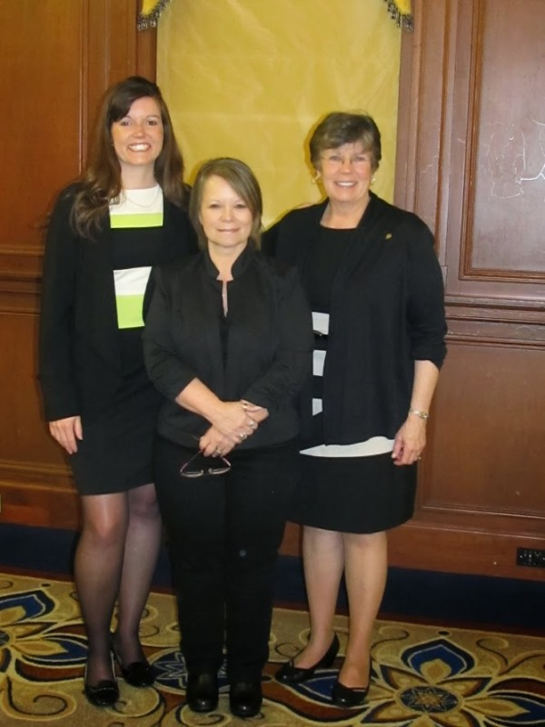 From left are, Kristi Bray, Kristin Devoe, and Sue McCrum, AAW President.