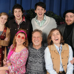 At top, from left, Christine O'Connell (Phoebe), Belamy Brophy-Baermann (Silvius), Ben Church (Orlando), and Philip Ryng (Jaques). Bottom row, from left, Devin Vietri (Celia), director Alan Hawkridge, and Alexandra Walsh (Rosalind).