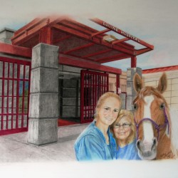 "One of the illustrations that will appear in the book, ""Believe in Miracles,"" a collaboration by Joyce Pomeroy, owner/operator of the Last Stop Horse Rescue; Susan Mullaney, director of marketing and communications for the University of Maine Alumni Association; and artist Deb Lindsay."