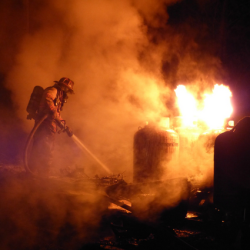 A barn on Huffs Mill Road had collapsed when firefighters arrived to battle blaze near midnight Saturday.