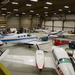 The 18,000-square-foot MAC Air Group hangar at Portland International Jetport is used to service fleet and privately owned planes. Company President Allyn Caruso said it will remain in use as the company expands on the South Portland side of the jetport.