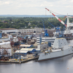 Thousands cheer christening of 'most advanced Navy ship in the world'