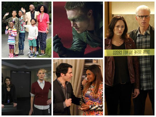 "Clockwise from top left: &quot""Black-ish,""&quot fate unkown (Adam Taylor/ABC); ""&quotArrow,""&quot renewed (Jack Rowand/CW); ""&quotCSI,""&quot unknown (Monty Brinton/CBS); ""&quotThe Mindy Project,""&quot canceled (Patrick McElhenney/Fox); ""&quotState of Affairs,""&quot unknown (Michael Parmelee/NBC)."