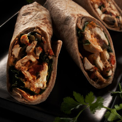 Swiss chard and chicken wraps get heat from jalapeno, cayenne pepper and chipotle salsa.