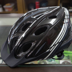A  bike helmet with a built in reflective flashing light on the back is seen April 28 at Ski Rack in Bangor.