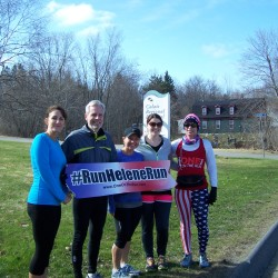 CRH Staff rank 5K to kick off Helene Neville's last leg of her run around the perimeter of the US on May 1 and promote taking that first step to getting active and healthy.  (l to r) Teena Dominie, RN; Michael K. Lally, CEO; Heather White, RN; Krista Collins, RN; and Helene Neville.