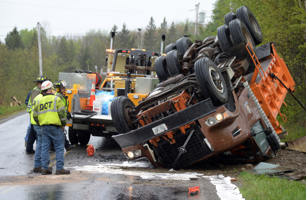Dump truck rolls over in Hampden — Bangor — Bangor Daily