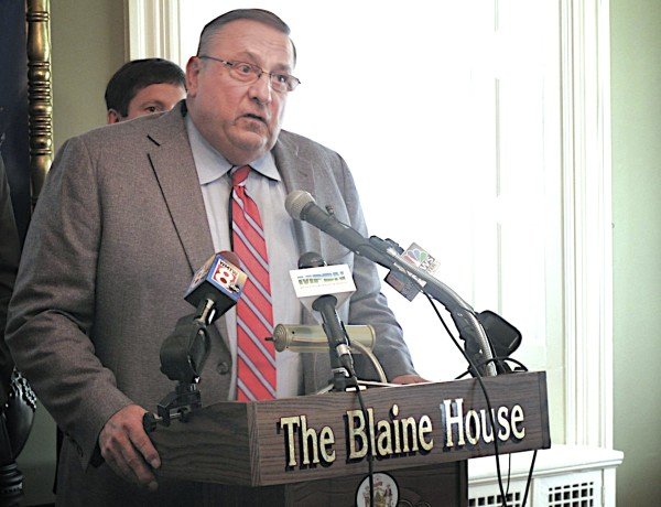 Gov. Paul LePage said Friday at the Blaine House that Democrats' opposition to his constitutional amendment to repeal the income tax is &quotdespicable.&quot He also pledged to veto every bill sponsored by a Democrat until his opposition relents and accepts his constitutional amendment to eliminate Maine's income tax.