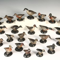 Rare set of 23 carved and painted wood miniature duck decoys by A. E. Crowell, East Harwich, MA, one of over 1,100 fine items to be sold at Thomaston Place Auction Galleries on May 30 & 31
