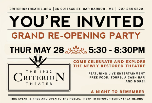 Criterion Theatre Grand ReOpening Party Bangor Daily News BDN – Grand Opening Party Invitations