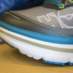 The Hoka One One maximalist running shoe is seen at Triathlete Sports Inc. in Bangor.