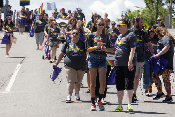 Supporters walk in the parade during the annual Bangor Pride Festival through downtown Bangor on Saturday.