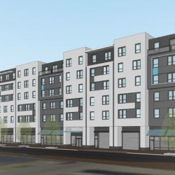 The so-called Midtown 3 building -- the third of four buildings included in the latest version of the high-profile Midtown development project proposed for Portland's Bayside neighborhood -- is depicted here with a view from Somerset Street in an image submitted with the project application to City Hall.