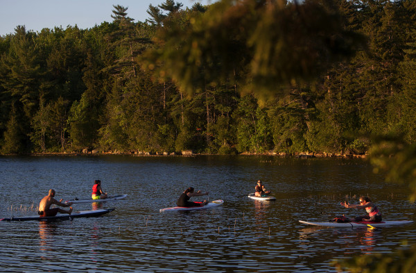 Brian Ulbrich (from left), Emma Mattingly, Natalie Feulner, Alex Taylor and Erin Walker stretch out during an Acadia Stand Up Paddle Boarding yoga class at Echo Lake on Mount Desert Island.