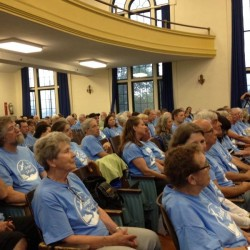 Dressed in blue T-shirts, more than 200 supporters of banning tar sands from South Portland applauded the work of the special draft ordinance committee at Mahoney Middle School in this June 2014 file photo.