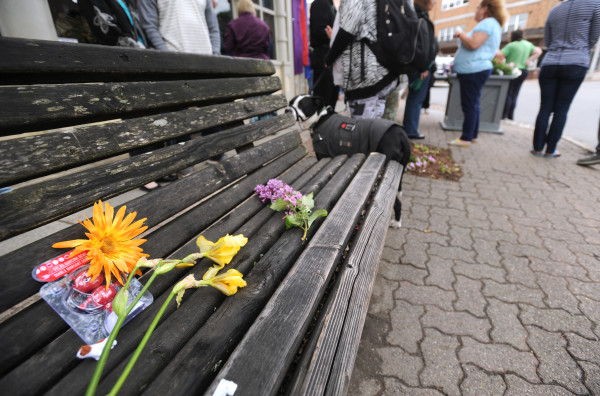Following a memorial service at the Columbia Street Baptist Church, flowers were placed on the bench where Robert &quotJR&quot West used to sit in Downtown Bangor.  West, who was homeless, died at the end of May after he was struck by a car while crossing the street.