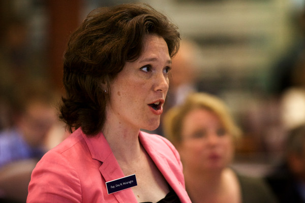Rep. Gina Melaragno, D-Auburn, speaks on the floor of the House as lawmakers overturned Gov. Paul LePage's budget veto on Tuesday in Augusta.