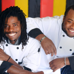 Pagiel Rose (left), 31, and Andrae Dixon, 29, are co-owners of Jamaican Vybz, a new takeout restaurant in Bangor. The longtime friends have worked together at several restaurants over the years, and now they opened their own business that serves Jamaican food.