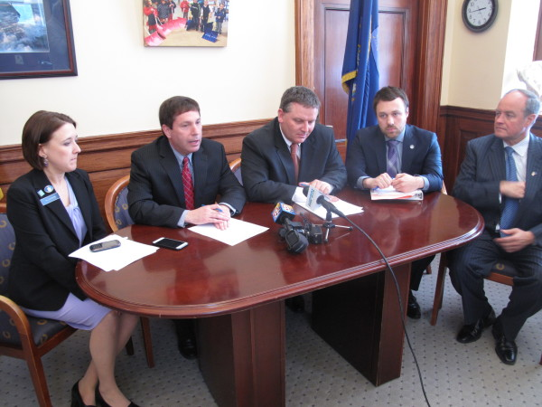 Republican legislative leaders discuss their reaction to a Democratic tax reform proposal during a press conference on Thursday, April 9, 2015, at the State House in Augusta. From left are Assistant House Minority Leader Ellie Espling, R-New Gloucester; House Minority Ken Fredette, R-Newport; Senate President Mike Thibodeau, R-Winterport; Senate Majority Leader Garrett Mason, R-Lisbon, and Assistant Senate Majority Leader Andre Cushing, R-Hampden.