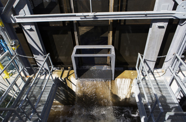 Part of the Milford Dam fishway is seen at Brookfield Energy in Milford Wednesday. After more than three decades capturing Atlantic salmon at the Veazie Dam, that operation has moved to Milford, where a new fishlift was unveiled in 2014.