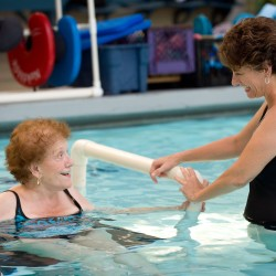 Maria Zakich, right, has a laugh with her mom, Grace Rousset, 86, while exercising at the Rehabilitation Institute of Southern California in Orange, California, in this July 2013 file photo.