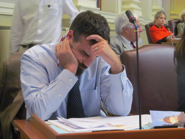 House Majority Leader Jeff McCabe, D-Skowhegan, frets about debate on the biennial state budget Tuesday, June 16, 2015, at the State House in Augusta.
