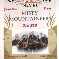 The Misty Mountaineers play bluegrass at the 99-year-old Dexter Wayside Theatre on Sat. June 27 at 7:00 pm.