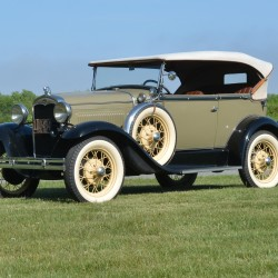 """On Wednesday, June 10, approximately 200 Model A Fords will be visiting the Owls Head Transportation Museum as part of the 2015 Lobsters and Lighthouses Model A Ford Club Maine Tour. Pictured is a 1931 Ford Model A Tudor Phaeton owned by Wayne """"Beaver"""" Stinson."""