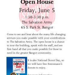 Salvation Army Open House, June 5, 1:30-3:30 p.m.